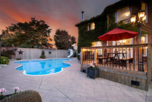 Twilight real estate photo swimming pool