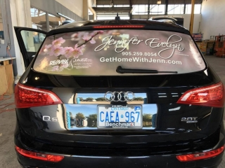 An example of a custom vehicle window wrap for a local Durham Region Realtor